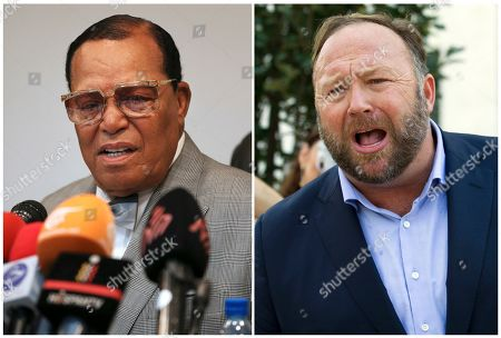 Shows minister Louis Farrakhan, the leader of the Nation of Islam, in Tehran, Iran,, left, and conspiracy theorist Alex Jones in Washington on Sept. 5, 2018, right. Facebook has banned Louis Farrakhan, Alex Jones and others from its platform and from Instagram saying they violated its ban against hate and violence. The company said Thursday it has also banned extreme right-wing figures Paul Nehlen, Milo Yiannopoulos, Paul Joseph Watson, Laura Loomer and the conservative conspiracy site Infowars. Jones was already banned from Facebook but not from Instagram