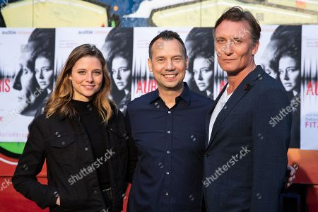(L-R) German actress Svenja Jung, Sebastian Fitzek, actor Oliver Masucci attend the world premiere audio play live performance of the thriller 'AURIS' at the former NSA spy station on top of the Teufelsberg mountain in Berlin, Germany, 30 April 2019. Thriller story AURIS about a forensic phonetician, written by Vincent Kliesch after an idea of Sebastian Fitzek, is available as a book and audio play.