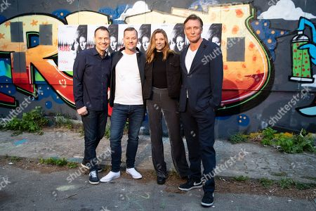 (L-R) Sebastian Fitzek, Vincent Kliesch, actress Svenja Jung and  actor Oliver Masucci attend the world premiere audio play live performance of the thriller 'AURIS' at the former NSA spy station on top of the Teufelsberg mountain in Berlin, Germany, 30 April 2019. Thriller story AURIS about a forensic phonetician, written by Vincent Kliesch after an idea of Sebastian Fitzek, is available as a book and audio play.