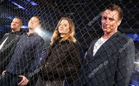 (L-R) Vincent Kliesch, Sebastian Fitzek, actress Svenja Jung and  actor Oliver Masucci attend the world premiere audio play live performance of the thriller 'AURIS' at the former NSA spy station on top of the Teufelsberg mountain in Berlin, Germany, 30 April 2019. Thriller story AURIS about a forensic phonetician, written by Vincent Kliesch after an idea of Sebastian Fitzek, is available as a book and audio play.