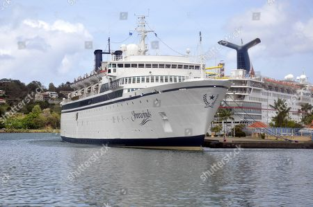 View of 'Freewinds', the cruise ship of the Church of Scientology, which is still docked in quarantine due to an outbreak of measles, in Saint Lucia, 02 May 2019. Health authorities in St. Lucia confirmed that a cruise ship of the Church of Scientology is still quarantined in St. Lucia as a precautionary measure, after a case of measles was detected on board the vessel, according to several sources, where there are 300 passengers.