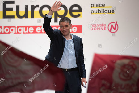 First Secretary General of the Socialist Party (PS) Olivier Faure gestures during a meeting with French essayist and founder of citizen movement 'Place Publique' and candidate for the European Parliamentary elections, Raphael Glucksmann (out) at Bordeaux, France, 02 May 2019. Elections to the European Parliament will take place from 23 to 26 May 2019.