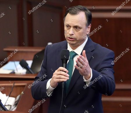 Sen. Tom Lee, R-Brandon, debates an immigration bill during session, in Tallahassee, Fla