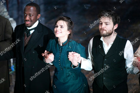 Giles Terera (Andreas Kroll), Hayley Atwell (Rebecca West) and Tom Burke (John Rosmer) during the curtain call