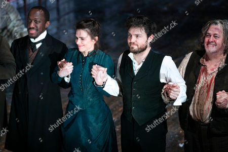 Giles Terera (Andreas Kroll), Hayley Atwell (Rebecca West), Tom Burke (John Rosmer) and Peter Wight (Ulrik Brendel) during the curtain call