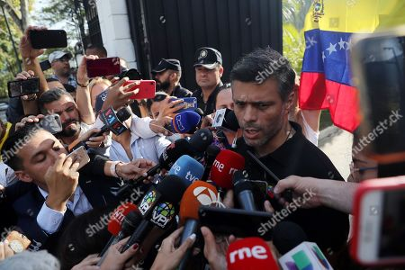 Venezuelan opposition leader Leopoldo Lopez addresses the media at the residency of the Spanish Ambassador in Venezuela, in Caracas, Venezuela, 02 May 2019. Lopez reappeared after a Caracas' court ordered his detention for the violation of his home arrest.