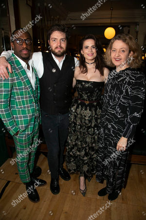 Stock Picture of Giles Terera (Andreas Kroll), Tom Burke (John Rosmer), Hayley Atwell (Rebecca West), Jake Fairbrother (Peter Mortensgaard) and Lucy Briers (Mrs Helseth)