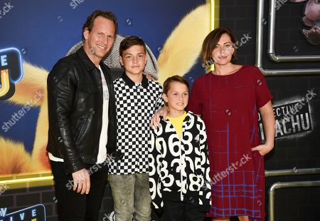 "Stock Picture of Patrick Wlson, Kalin Wilson, Kassian Wilson, Dagmara Dominczyk. Actor Patrick Wlson, left, poses with his wife Dagmara Dominczyk and their sons Kalin Wilson, left, and Kassian Wilson at the premiere of ""Pokemon Detective Pikachu"" at Military Island in Times Square, in New York"