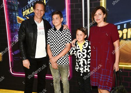 "Patrick Wlson, Kalin Wilson, Kassian Wilson, Dagmara Dominczyk. Actor Patrick Wlson, left, poses with his wife Dagmara Dominczyk and their sons Kalin Wilson, left, and Kassian Wilson at the premiere of ""Pokemon Detective Pikachu"" at Military Island in Times Square, in New York"