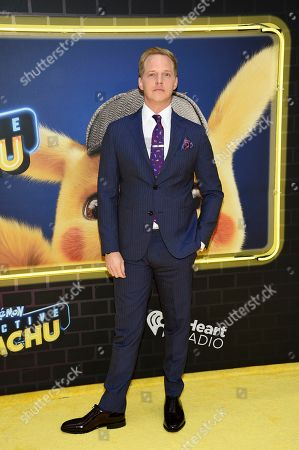 """Chris Geere attends the premiere of """"Pokemon Detective Pikachu"""" at Military Island in Times Square, in New York"""