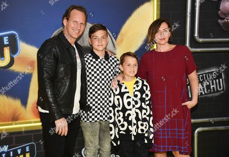 "Patrick Wlson, Kalin Wilson, Kassian Wilson, Dagmara Dominczyk. Actor Patrick Wilson, left, poses with his wife Dagmara Dominczyk and their sons Kalin Wilson, left, and Kassian Wilson at the premiere of ""Pokemon Detective Pikachu"" at Military Island in Times Square, in New York"