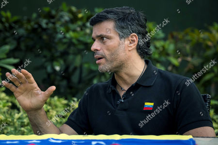 Venezuelan opposition leader Leopoldo Lopez speaks to the media in Caracas, Venezuela, 02 May 2019. Lopez said today that ruling Nicolas Maduro had lost the confidence of his military command.
