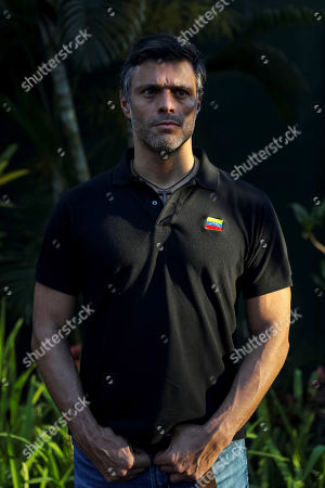 Venezuelan opposition leader Leopoldo Lopez poses for photos after speaking to the media in Caracas, Venezuela, 02 May 2019. Lopez said today that ruling Nicolas Maduro had lost the confidence of his military command.