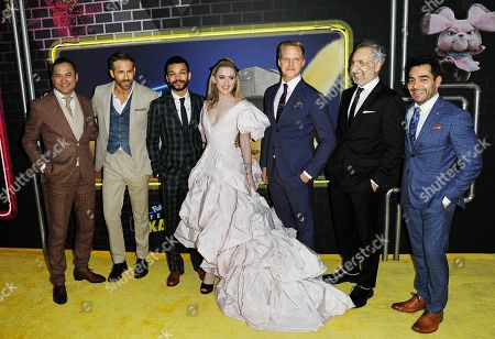 Ken Watanabe, Ryan Reynolds, Justice Smith, Kathryn Newton, Chris Geere, film director Rob Letterman, and Omar Chaparro attend the US premiere of the film 'Pokemon Detective Pikachu' in New York, New York, USA, 02 May 2019.