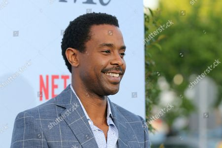 """Brandon Scott arrives at the LA Premiere of """"Dead to Me"""" at The Broad Stage, in Santa Monica, Calif"""
