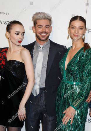 Lily Collins, Zac Efron and Angela Sarafyan