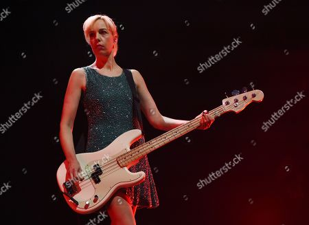 Kathi Wilcox of the punk rock band Bikini Kill performs at the Hollywood Palladium, in Los Angeles. The 2019 tour marks the band's first live shows in 20 years
