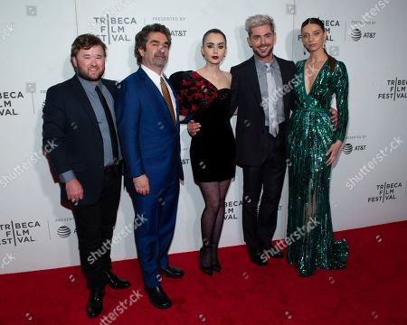 """Haley Joel Osment, Joe Berlinger, Lily Collins, Zac Efron, Angela Sarafyan. Actor Haley Joel Osment, from left, director Joe Berlinger, actors Lily Collins, Zac Efron and Angela Sarafyan attend the screening for """"Extremely Wicked, Shockingly Evil and Vile"""" during the 2019 Tribeca Film Festival at the Tribeca Performing Arts Center on Thursday, and, in New York"""