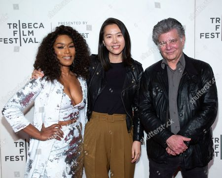 "Stock Picture of Angela Basset, Steve Zailliant, Bora Kim. International Narrative Feature Film Jurors Angela Bassett, left, Steve Zaillian, right, and award recipient for Best International Narrative Feature ""House of Hummingbird"" Bora Kim attend the Award Ceremony during the 2019 Tribeca Film Festival in the Stella Artois Theatre at the Tribeca Performing Arts Center, in New York"
