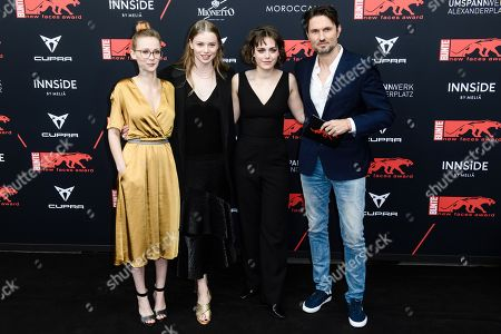 Swiss actress Luna Wedler (2-L), German actress Valerie Stoll (2-R) German actress Meira Durand (L) and German director Simon Verhoeven (R) attend the New Faces Award 2019 ceremony in Berlin, Germany, 02 May 2019 (issued 03 May 2019). The New Faces Award is a young talent prize that has been awarded since 1998 by the German weekly Bunte.