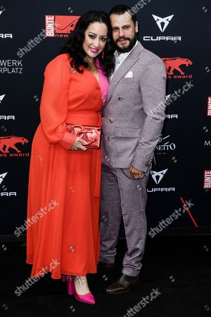 Manuel Cortez (R) and designer Miyabi Kawai attend the New Faces Award 2019 ceremony in Berlin, Germany, 02 May 2019 (issued 03 May 2019). The New Faces Award is a young talent prize that has been awarded since 1998 by the German weekly Bunte.
