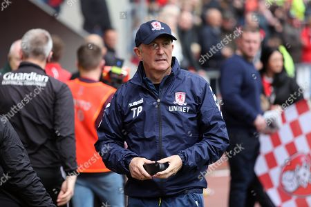 Boro manager Tony Pulis leaves the field psooibly his last game in charge