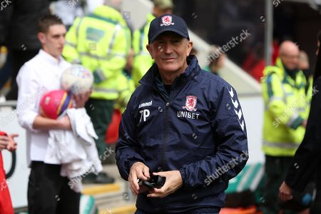 Boro manager Tony Pulis leaves the field possibly his last game in charge