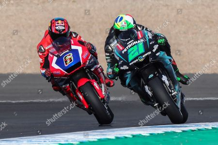 MotoGP riders Italian Franco Morbidelli (R) of Petronas Yamaha SRT and German Stefan Bradl of Team HRC in action during the free practice session of the Motorcycling Grand Prix of Spain 2019 at the Jerez racetrack in Jerez de la Frontera, southern Spain, 03 May 2019. The Motorcycling Grand Prix of Spain will take place on 05 May 2019.