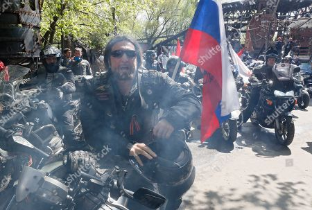 Stock Image of Alexander Zaldostanov (C), leader of the Russian bike club the Night Wolves and his club-mates start tfor the opening of a new motorcycle season at the club's headquarters in Nizhniye Mnyovniki Street, in Moscow, Russia, 03 May 2019. 'Night Wolves'  was created in 1989 and was the first official biker club in the USSR. They known to be firm supporters of President Vladimir Putin.