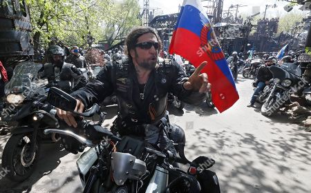 Stock Picture of Alexander Zaldostanov (C), leader of the Russian bike club the Night Wolves and his club-mates start tfor the opening of a new motorcycle season at the club's headquarters in Nizhniye Mnyovniki Street, in Moscow, Russia, 03 May 2019. 'Night Wolves'  was created in 1989 and was the first official biker club in the USSR. They known to be firm supporters of President Vladimir Putin.