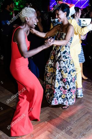 Nikeata Thompson (L) and German actress Dennenesch Zoude (R) dance during the after-show party of the 69th German Film Awards 'LOLA' in Berlin, Germany, 03 May 2019. The most highly endowed cultural award in Germany is presented in 18 categories by the Deutsche Filmakademie (German film academy).