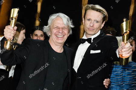 Alexander Scheer (R) and Andreas Dresden hold their awards for best actor and best direction respectively in the 69th German Film Awards 'LOLA' in Berlin, Germany, 03 May 2019. The most highly endowed cultural award in Germany is presented in 18 categories by the Deutsche Filmakademie (German film academy).