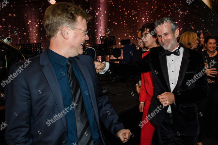 Justus von Dohnanyi (L) and the president of the German Film Academy Ulrich Matthes (R) during the 69th German Film Awards 'LOLA' in Berlin, Germany, 03 May 2019. The most highly endowed cultural award in Germany is presented in 18 categories by the Deutsche Filmakademie (German film academy).