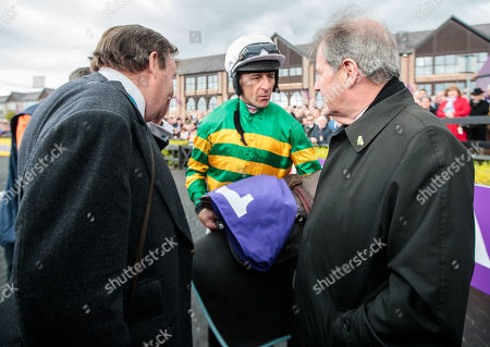 The BETDAQ Punchestown Champion Hurdle. Trainer Nicky Henderson, jockey Davy Russell and Owner JP McManus with Buveur D'Air after winning