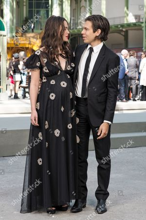 Keira Knightley and James Righton in the front row