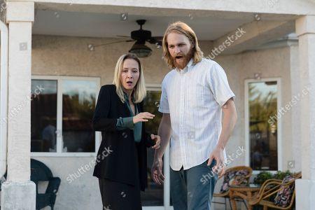 """Stock Photo of Jocelyn Towne as Gloria Keller and Wyatt Russell as Sean """"Dud"""" Dudley"""
