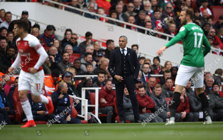 Chris Hughton (Brighton and Hove Albion manager) at the Arsenal v Brighton and Hove Albion English Premier League football match at The Emirates Stadium, London, UK on May 5, 2019. **Editorial use only, license required for commercial use. No use in betting, games or a single club/league/player publications**