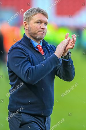 4th May 2019, Keepmoat Stadium, Doncaster, England; Sky Bet League One, Doncaster Rovers vs Coventry City ;  Grant McCann manager of Doncaster Rovers celebrates with the fans Credit: Craig Milner/News Images English Football League images are subject to DataCo Licence