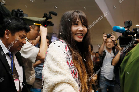 Doan Thi Huong leaves the airport after answering questions from media at Noi Bai international airport in Hanoi, Vietnam, 03 May 2019. Huong was released from prison on 03 May 2019 after accepting a deal with Malaysian prosecutors. She was accused of assassinating North Korean leader Kim Jong Un's half-brother, Kim Jong Nam.