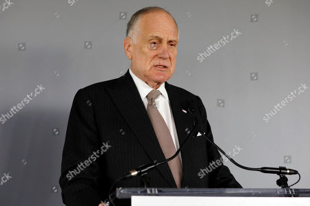 """President of the World Jewish Congress Ronald Lauder, and founder and chairman of The Auschwitz-Birkenau Foundation Committee, speaks about the """"Auschwitz: Not long ago, Not far away"""" exhibit at the Museum of Jewish Heritage in New York"""