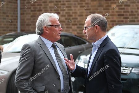 Frank Gray and Martin O'Neill share a word outside.