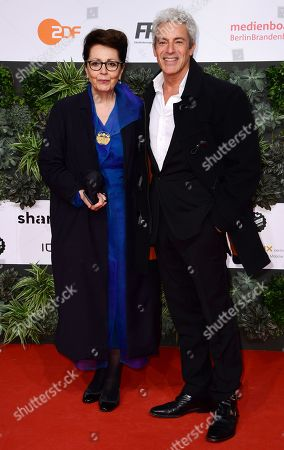 Stock Photo of Gedeon Burkhard (R) and Elisabeth von Molo attend the red carpet for the 69th German Film Awards 'LOLA' in Berlin, Germany, 03 May 2019. The most highly endowed cultural award in Germany is presented in 18 categories by the Deutsche Filmakademie (German film academy).