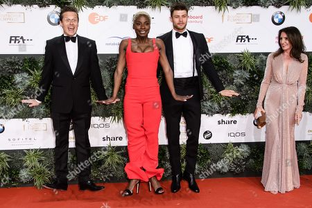 Roman Knizka, Nikeata Thompson and Eugen Bauder attend the 69th German Film Awards 'LOLA' in Berlin, Germany, 03 May 2019. The most highly endowed cultural award in Germany is presented in 18 categories by the Deutsche Filmakademie (German film academy).