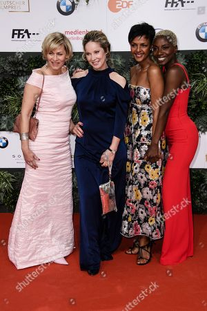 Gesine Cukrowski, Ann-Kathrin Kramer, Dennenesch Zoude and Nikeata Thompson attend the 69th German Film Awards 'LOLA' in Berlin, Germany, 03 May 2019. The most highly endowed cultural award in Germany is presented in 18 categories by the Deutsche Filmakademie (German film academy).