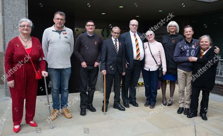 Left to Right - Barbara Pantin, Mark Ellis, Stephen Finney, Ade Goodyear, Lee Stay, Dot Eden, Lou Pantin, Mark Ward and Su Gorman People with contaminated blood with family and friends at the Infected Blood Inquiry at Fleetbank House, London.