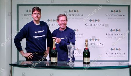 Greg James and Derek Thompson after the Are You Well, I Thought You Were Open Hunters Chase Cheltenham