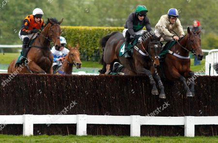 HAZEL HILL (right, Alex Edwards) beats CARYTO DES BROSSES (centre) in The Timico Mixed Open Gold Cup Final Hunters Chase Cheltenham