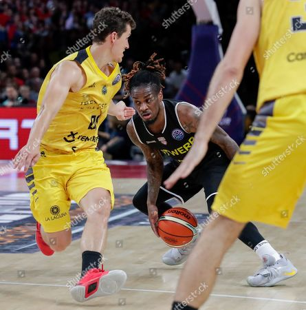 Stock Image of Rodrigo San Miguel of Iberostar Tenerife (L) and Paris Lee of Telenet Giants Antwerp  in action during the semi final match of the Final Four Basketball Champions League between Spanish team Iberostar Tenerife and Belgian team Telenet Giants Antwerp at Sportpaleis in Antwerp, Belgium, 03 May 2019.
