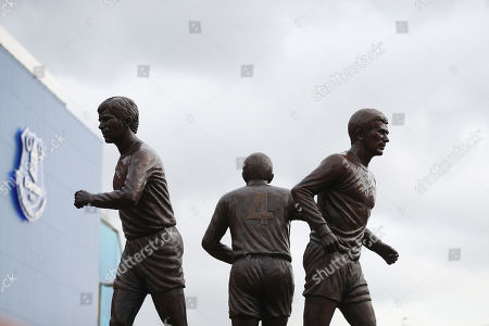 Stock Picture of The Holy Trinity statue of former Everton players Howard Kendall, Colin Harvey and Alan Ball is displayed outside the stadium