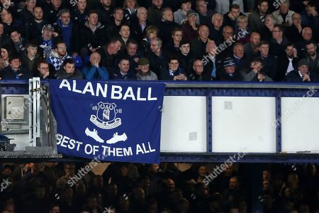 """Everton fans with a banner that reads """"Alan Ball Best of the all"""""""